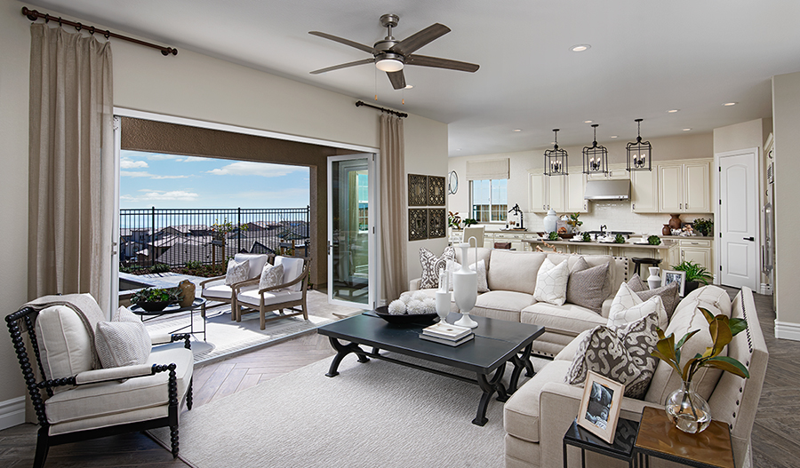 Great room of the Perry plan in Stonebrae in NCA