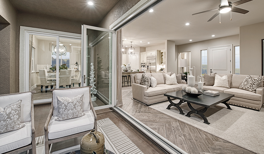 Patio and family room of the Perry plan in Stonebrae in NCA