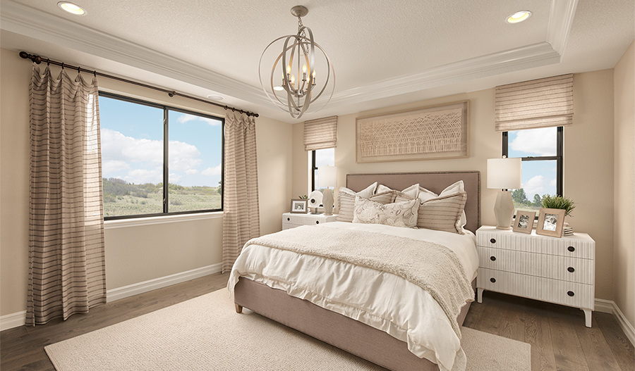 Master bedroom of the Harris plan in Cobblestone