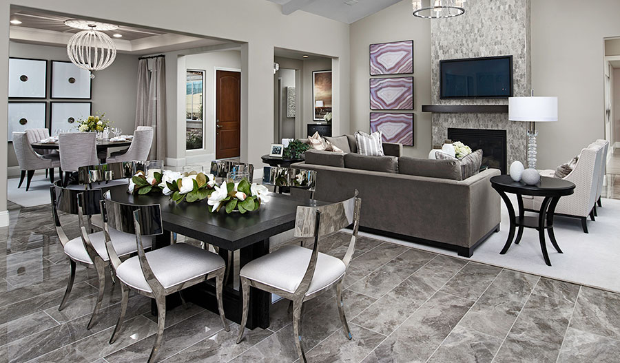 Family room of the Rocco with vaulted ceilings cropped out