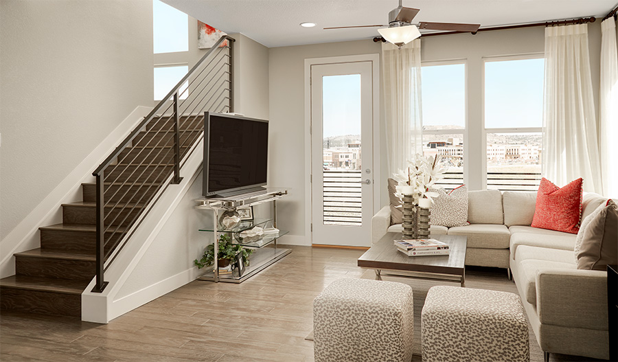 Family room of the Soho plan in Denver