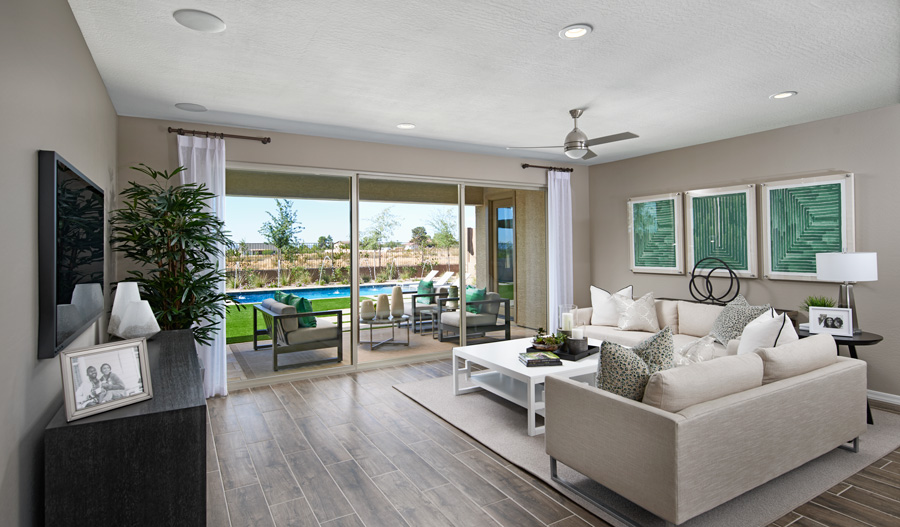 Family room of the Harley plan in PHX