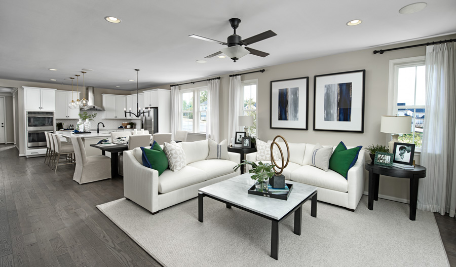 Great room of the Arlington floor plan in Hager's Crossing