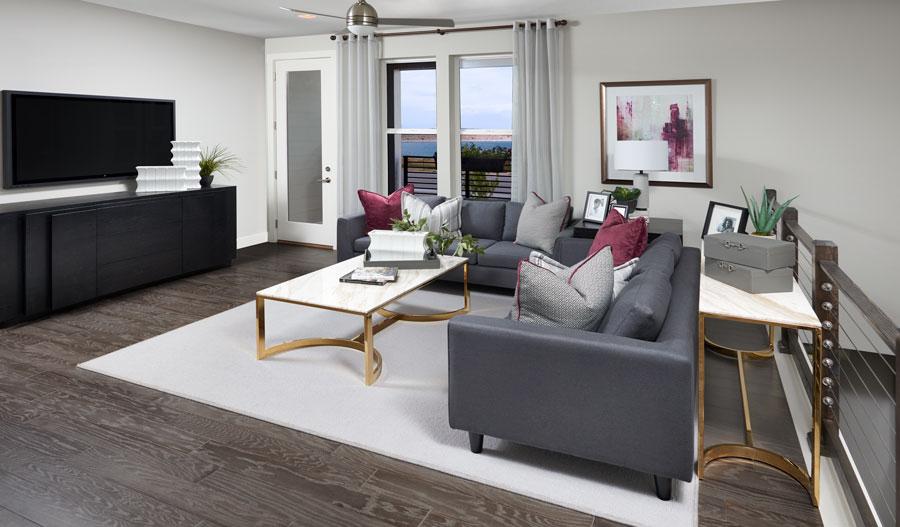 Living room of the Devoe plan in Denver