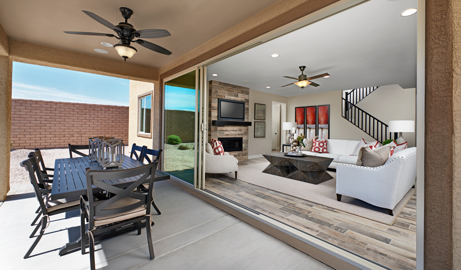 Patio and living room of the Dillon II plan in Tucson