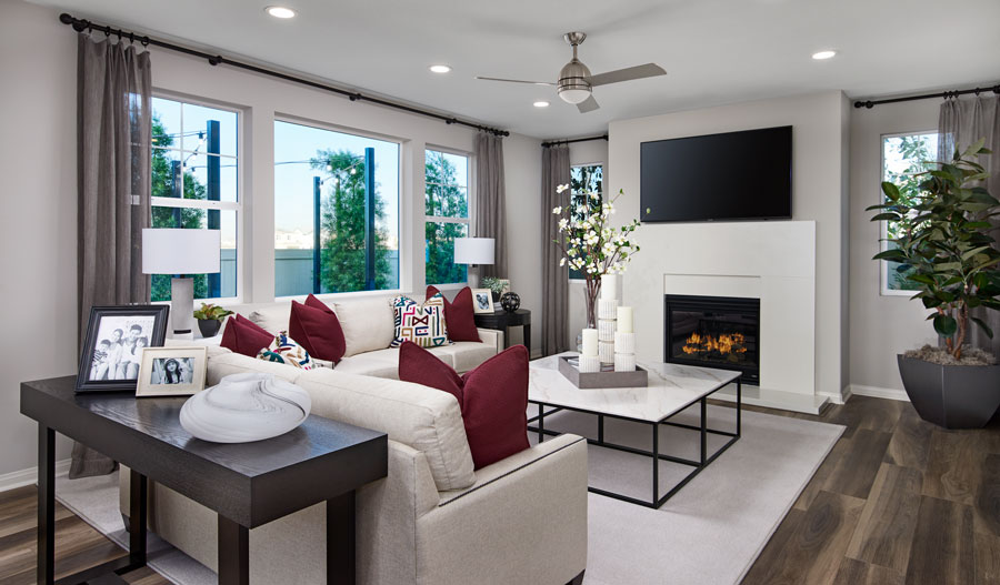 Family room of the Belleview plan in Inland Empire