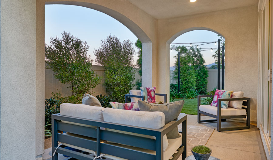 Patio of the Belleview plan in Inland Empire