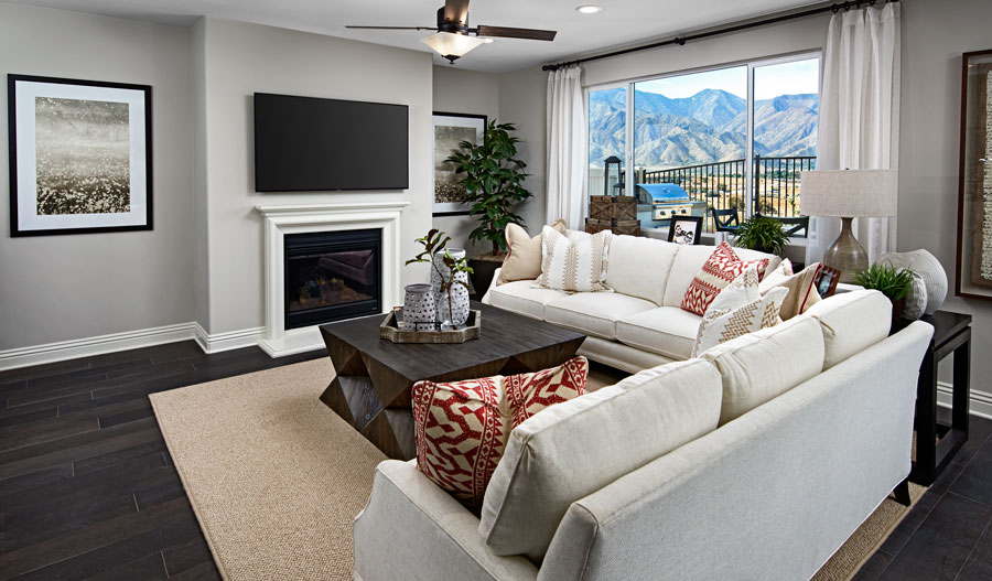 Family room of the Yorktown plan in Inland Empire