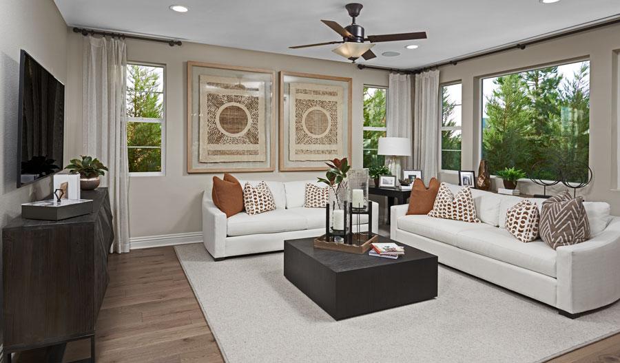 Living room of the Fulmer floor plan in SCA