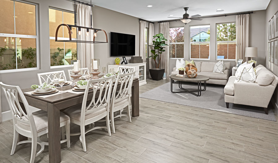 Dining nook and living room of the Faris floor plan