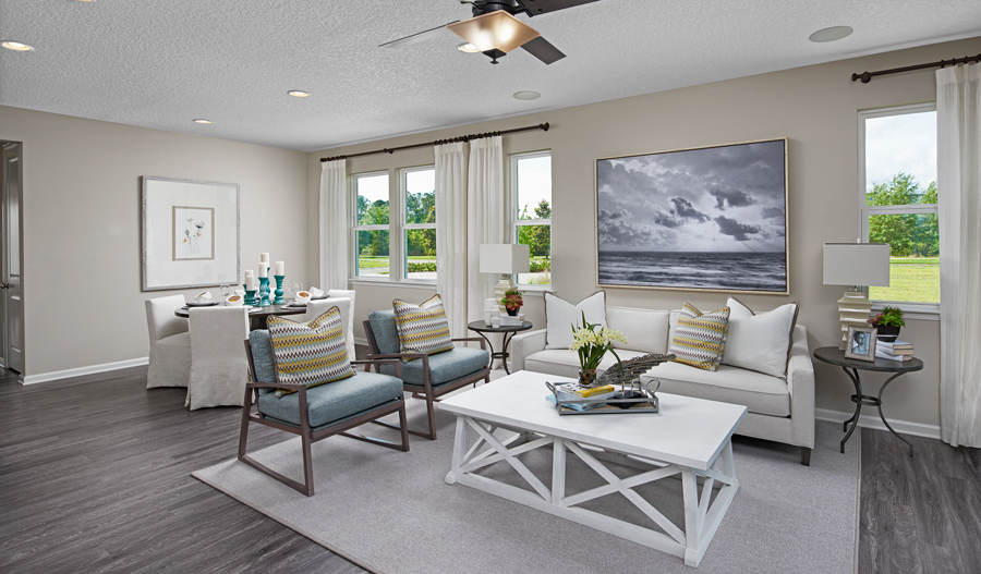 Family room of the Larimar floor plan