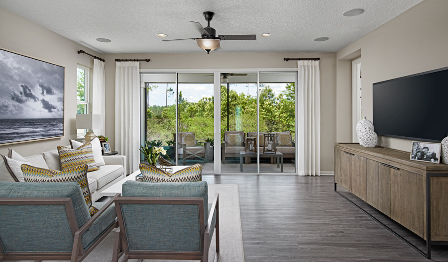 Family room of the Larimar floor plan in JAX