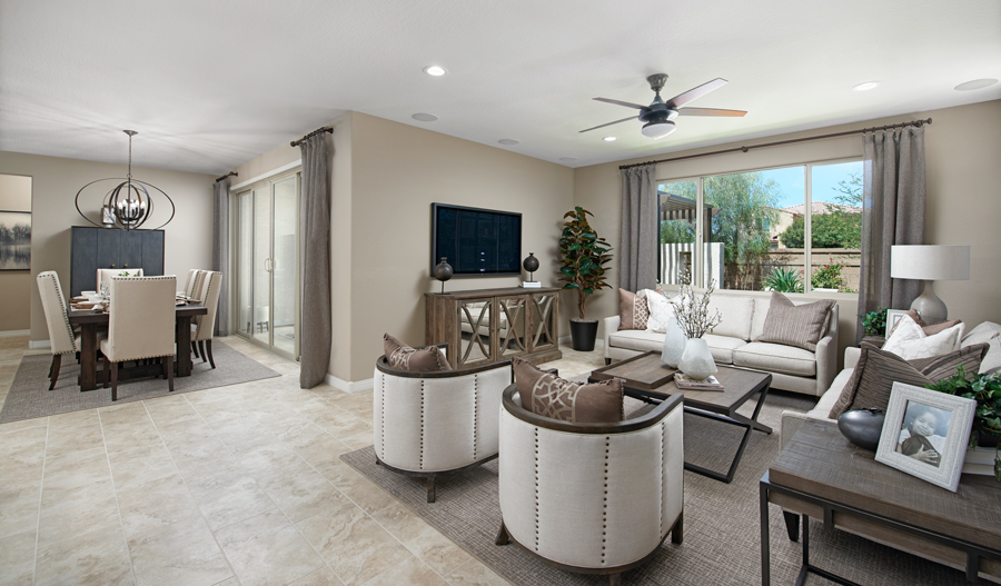 Family room and dining nook of the Deacon plan in PHX