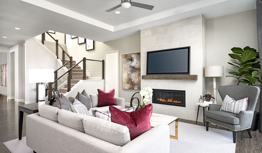Family room of the Avril plan in Denver