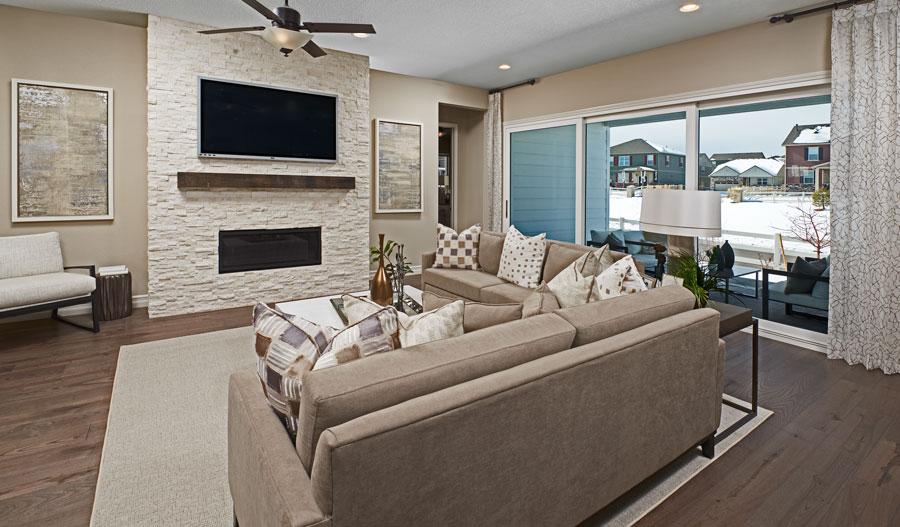 Living room of the Pinecrest plan in Denver