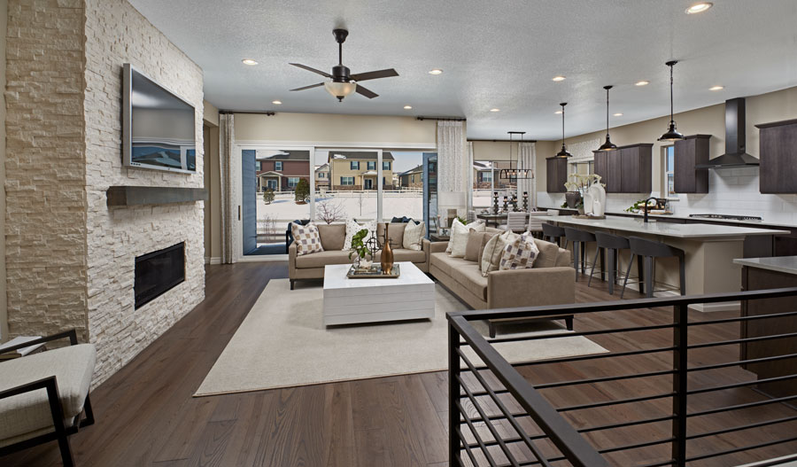 Great room of the Pinecrest plan in DEN