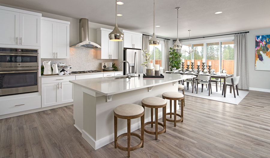 Kitchen and nook of the Hopewell plan in Seattle