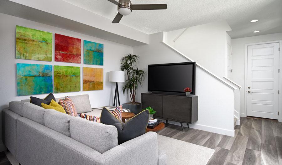 Family room of the Chicago plan in Denver