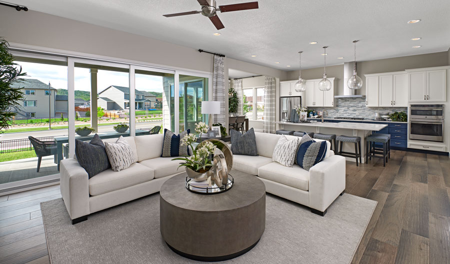 Great room of the Decker plan in Castle Rock