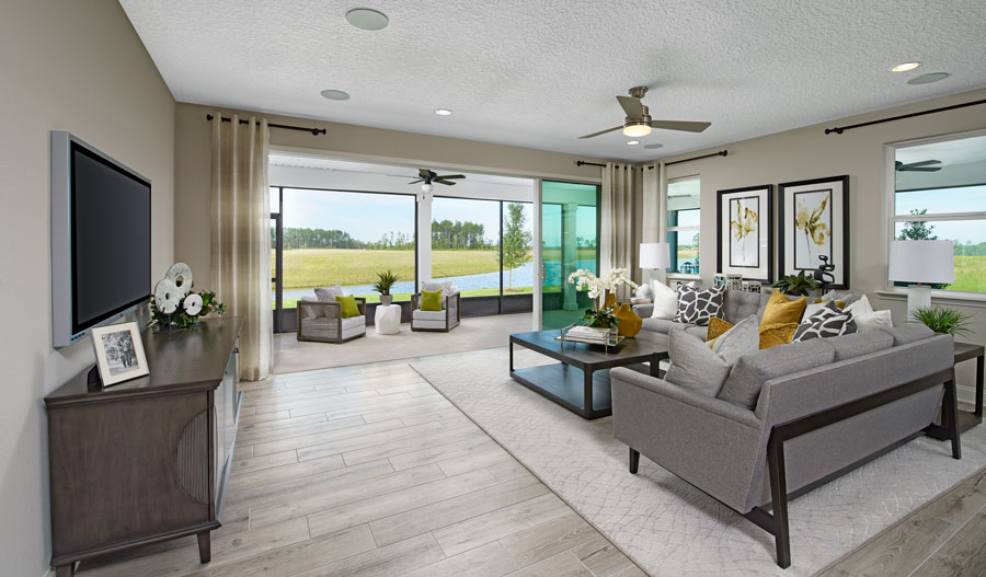 Family room of the Harley plan in JAX