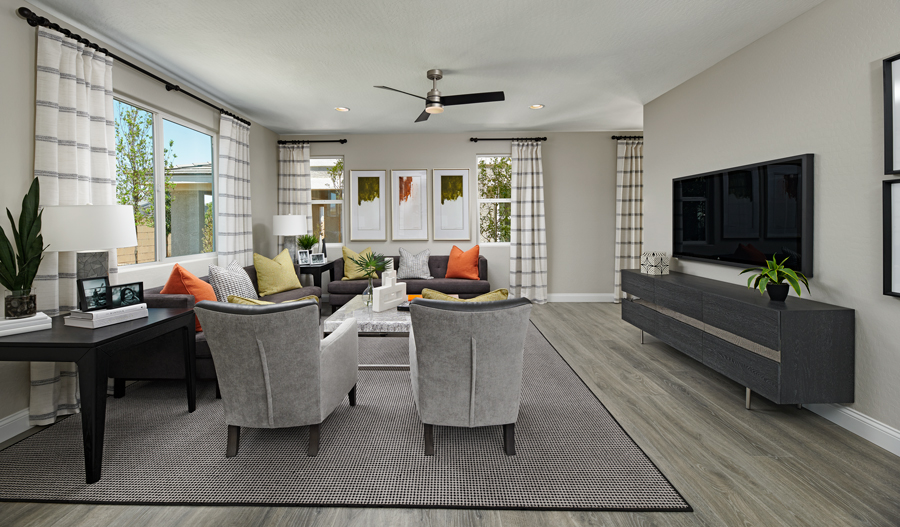 Family room of the Dogwood plan