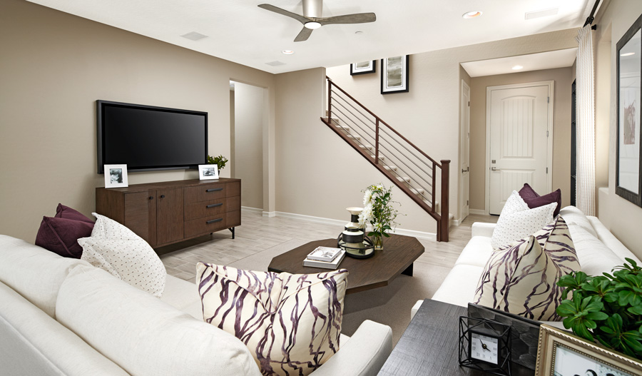 Family room of the Cottonwood plan