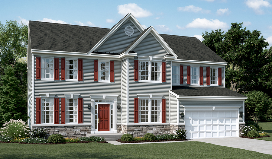 Exterior A of the Amherst floor plan in Old Dominion Greens