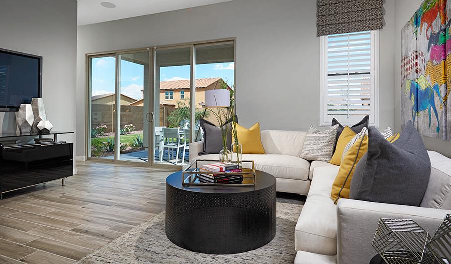 Family room in the Onyx floor plan