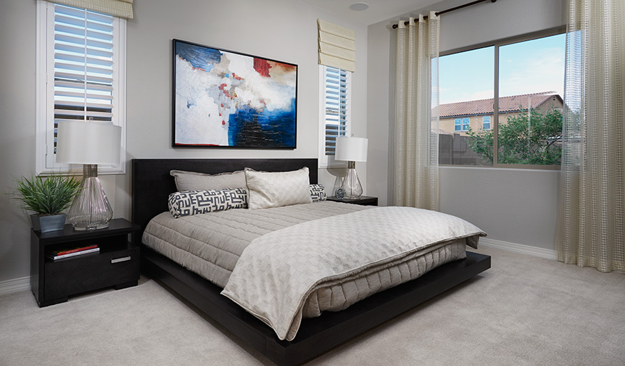 Master bedroom in the Onyx floor plan