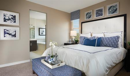 Master bedroom in the Paige floor plan