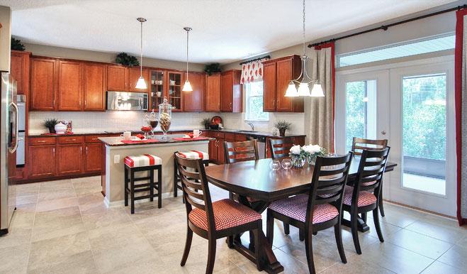 Kitchen and nook in the Piermont floor plan
