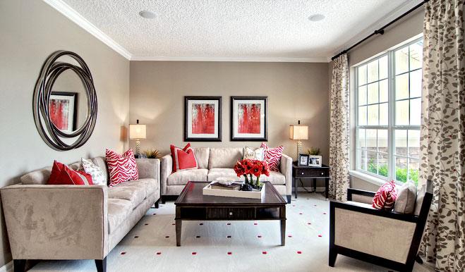 Living room in the Piermont floor plan