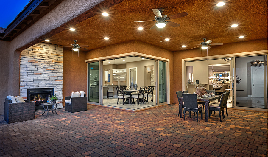 Covered patio in the Reagan floor plan