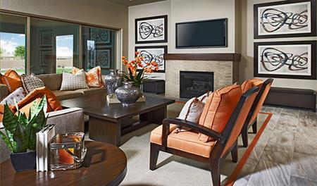 Great room with fireplace in the Reece floor plan