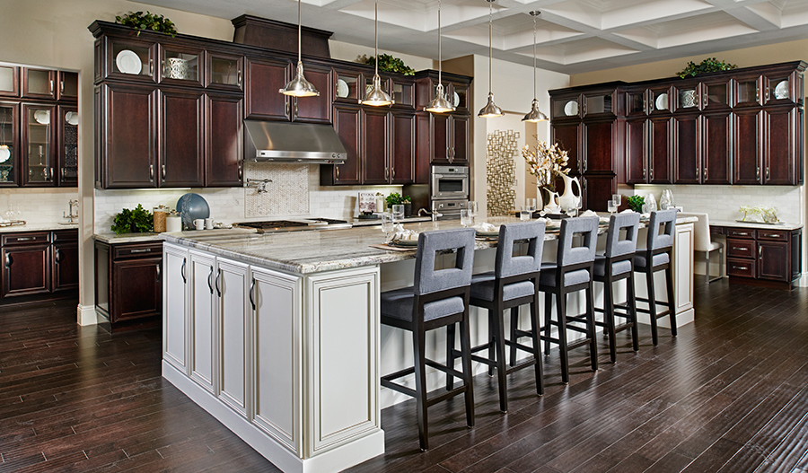 Kitchen with large center island in the Robert floor plan