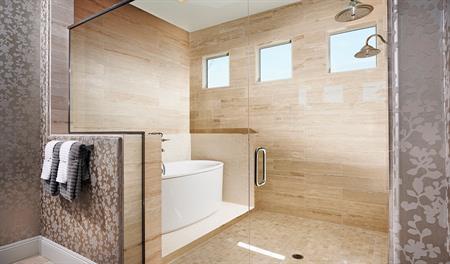 Master bathroom with a walk in shower in the Robert floor plan