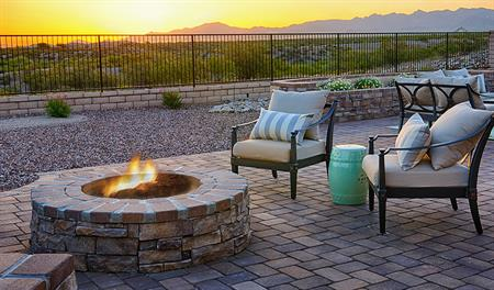 Patio with fire pit in the Robert floor plan