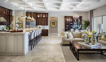 Great room and kitchen of the Robert floor plan