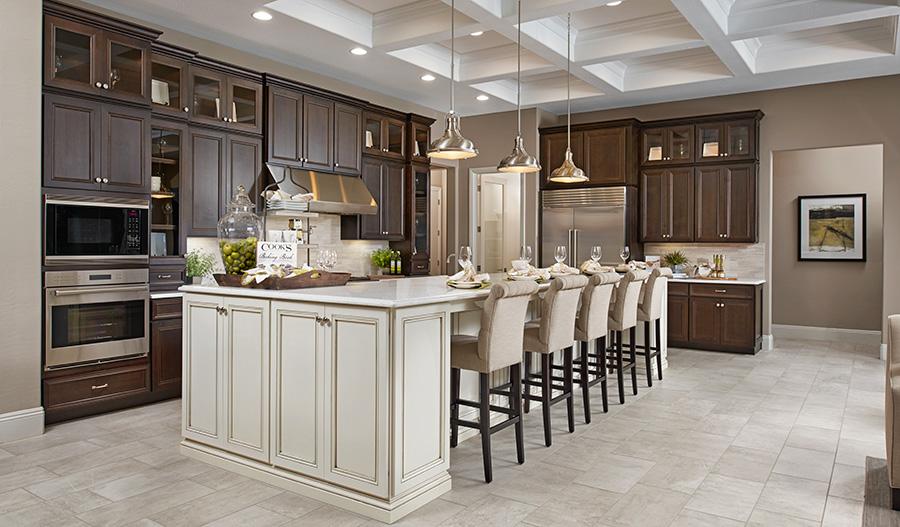 Kitchen and great room in the Robert floor plan