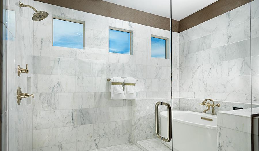 Shower in the master bathroom of the Robert floor plan