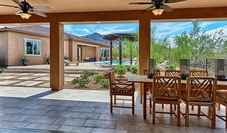 Patio and pool in the backyard of the Robert floor plan