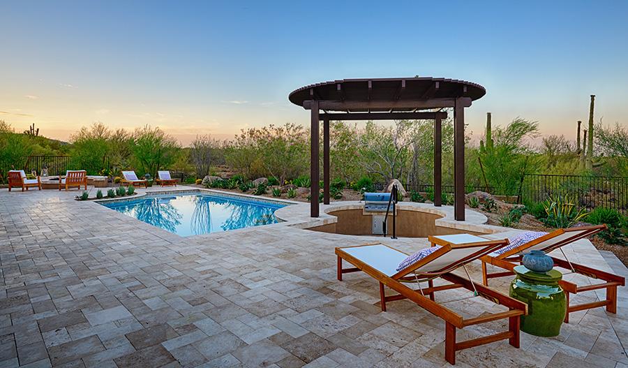 Backyard with pool in the Robert floor plan