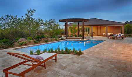 Backyard with pool in the Robert floor plan