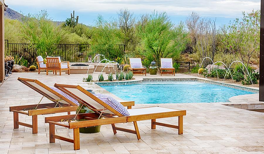Pool in the backyard of the Robert floor plan