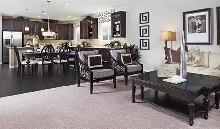 Great room in the Sarah floor plan