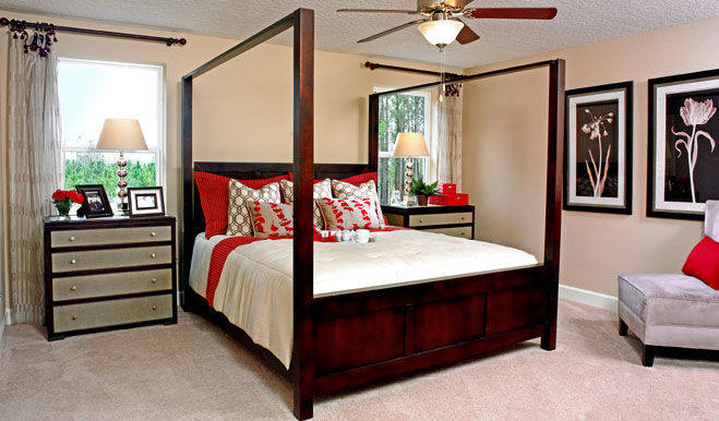 Master bedroom in the Seth floor plan