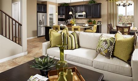 Great room in the Stacey floor plan