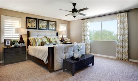 Master bedroom in the Stacey floor plan