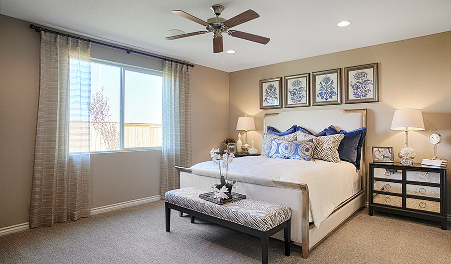 Master bedroom in the Timothy floor plan