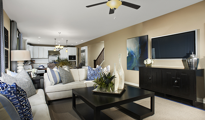 Great room of the Tracy floor plan